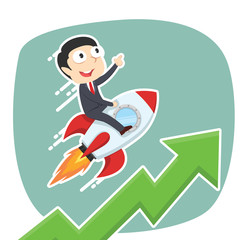 Businessman on rocket with raising graph– stock illustration