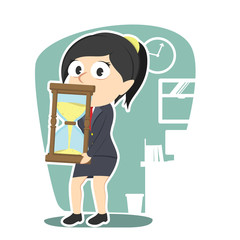businesswoman carrying giant hourglass