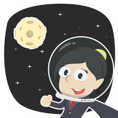 Businesswoman selfie in space– stock illustration