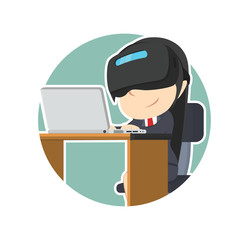 businesswoman with vr headset using laptop in circle