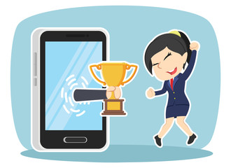 african businesswoman happy got trophy from smartphone