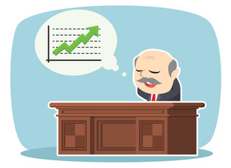 boss relaxing thinking about raising graph
