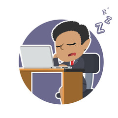 African businesswoman fall asleep while working– stock illustration