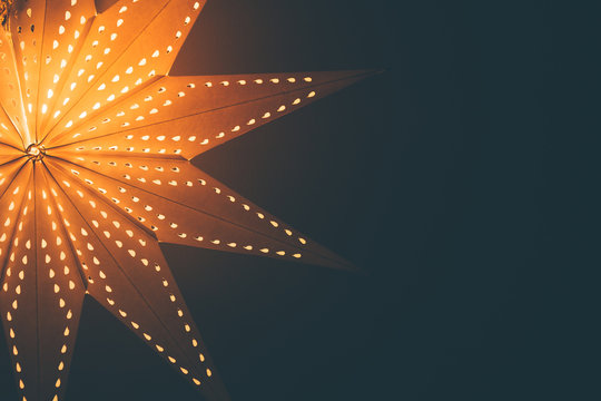 Lit up glowing christmas star background