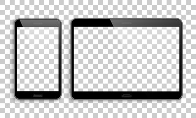 Smartphone, tablet mockup, transparent background. Pair of modern electronic devices for calls, the Internet and information exchange. Vector illustration isolated