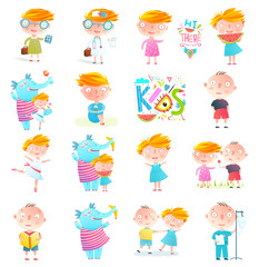 Kids colorful Characters and elephant design set isolated. Vector collection.