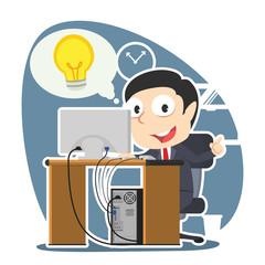 Businessman got idea while working– stock illustration