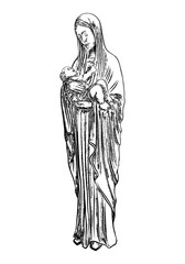Saint Mary holding baby Jesus Christ, son of God in her hands. Christmas nativity scene for holiday. Blackwork adult flesh tattoo concept. Vector.