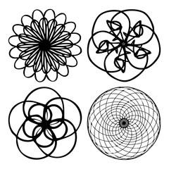 Kaleidoscopic mandala inspired Diwali Om symmetric Indian symbol imitation with yoga circle set. Psychedelic Buddhism, spiritual flash tattoo. Sacred mystic, alchemy or occult geometry symbol vector.