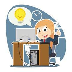 Businesswoman got idea while working– stock illustration