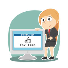 Businesswoman showing tax time in monitor screen– stock illustration