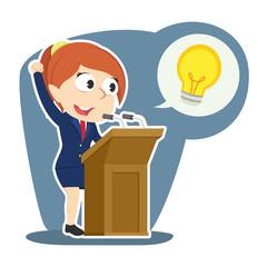 businesswoman giving speech about her idea