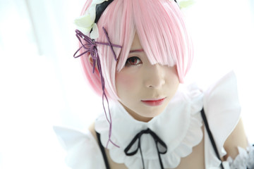 Japan anime cosplay girl portrait in white tone