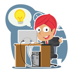 Indian businessman got idea while working– stock illustration