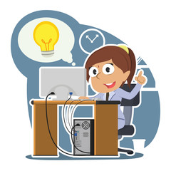 Indian businesswoman got idea while working– stock illustration