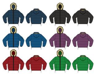 Illustration of Down jacket (fur hood) set / color variations
