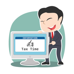 Asian businessman showing tax time in monitor screen– stock illustration