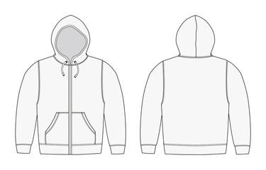 Illustration of hoodie (hooded sweatshirt) , zip up parka / white