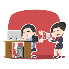 Asian businesswoman yelling to her stressed employee– stock illustra