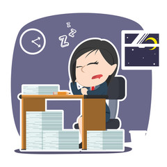 asian businesswoman fall asleep while working– stock illustration
