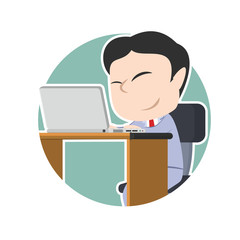 Asian businessman with laptop in circle– stock illustration