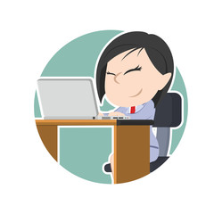Asian businesswoman with laptop in circle– stock illustration