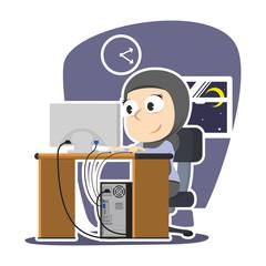 Arabian businesswoman working late night– stock illustration
