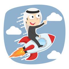Arabian businessman on rocket– stock illustration