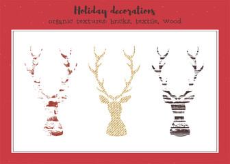 Vector set of textured deers