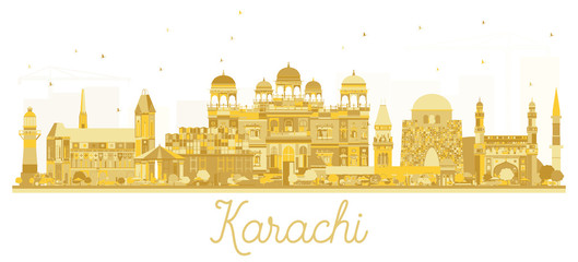 Karachi Pakistan City skyline golden silhouette.