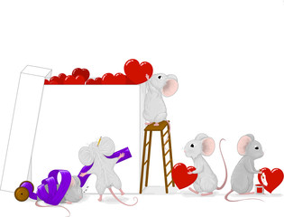 Hand drawn vector illustration of a team of small cute gray mice preparing a big love gift box with red hearts and purple ribbon.