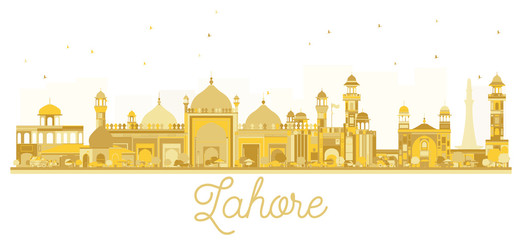 Lahore Pakistan City skyline golden silhouette.