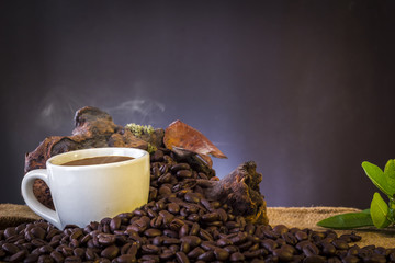 White cup and coffee beans and dark background