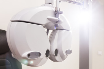 the office of the eye doctor. automatic lenses for the selection of lenses.