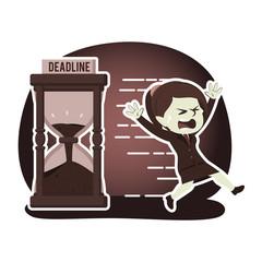 Retro style businesswoman running away from deadline– stock illustration