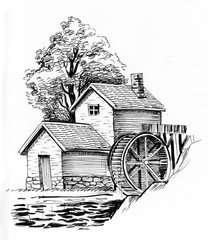 Ink black and white illustration of a water mill