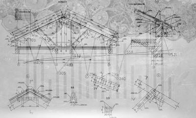 Engineering drawn plan. Mixed media