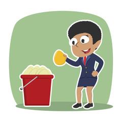 African businesswoman pick golden egg from egg bucket– stock illustration