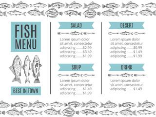 vector illustration of seafood for restaurant menu