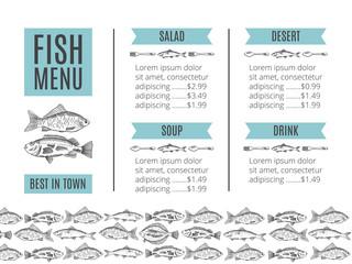 seafood design. Fish menu