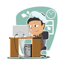 Businessman got a fever at work– stock illustration