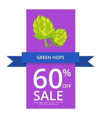 Green Hops 60 Off Sale on Vector Illustration