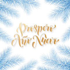 Prospero Ano Nuevo Spanish Happy New Year golden calligraphy hand drawn text on frozen snow blue wreath ornament for greeting card background template. Vector Christmas tree golden font white design