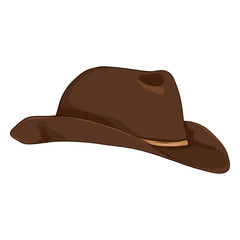 Vector Single Cartoon Cowboy Hat on White Bcakground