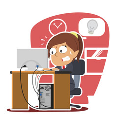 Indian businesswoman panic running out of idea– stock illustration