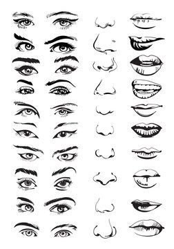 Face constructor with eyes, lips and noses. Hand drawn set. Vector illustration