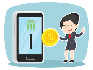 Asian businesswoman inserting coin to mobile banking– stock illustration