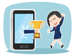 Asian businesswoman happy got trophy from smartphone– stock illustration