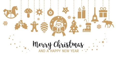 Weihnachtskarte mit weihnachtlicher Dekoration - Vektor Illustration mit freigestellten Weihnachts icons