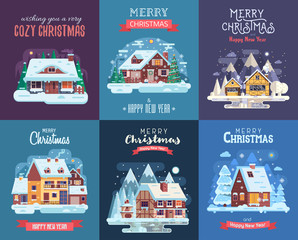 Christmas cards set with forest winter houses and homes on countryside background. Xmas congratulation postcards with snowy cottages and farmhouses on rural landscape in flat and cartoon style.
